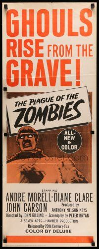 2k080 PLAGUE OF THE ZOMBIES insert '66 Hammer horror, great undead monster image!