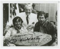 2m062 KEVIN MCCARTHY signed 8x10 REPRO still '97 w/ Spielberg & Invasion of the Body Snatchers pod!