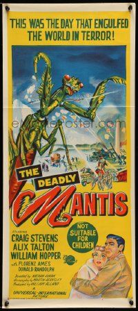 2m022 DEADLY MANTIS Aust daybill '57 great art of giant insect monster attacking Washington D.C.!
