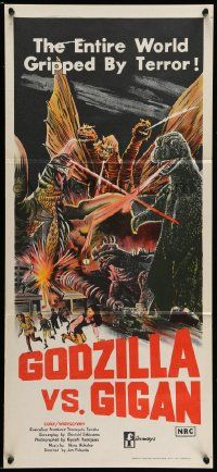 2m025 GODZILLA ON MONSTER ISLAND Aust daybill '72 battling Ghidra & Gigan & stomping city!
