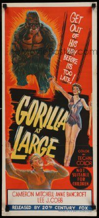 2m026 GORILLA AT LARGE Aust daybill '54 stone litho art of giant ape & sexy Anne Bancroft!