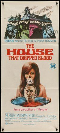 2m029 HOUSE THAT DRIPPED BLOOD Aust daybill '71 Christopher Lee, Vampires! Voodoo! Vixens!