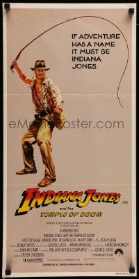 2m031 INDIANA JONES & THE TEMPLE OF DOOM Aust daybill '84 adventure is Harrison Ford's name!