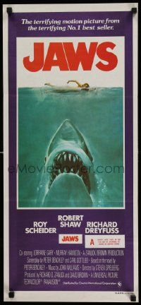 2m032 JAWS Aust daybill '75 art of Spielberg's classic man-eating shark attacking sexy swimmer!