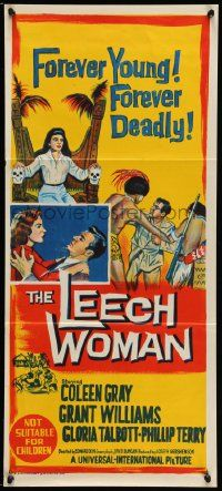 2m033 LEECH WOMAN Aust daybill '60 female vampire drained love & life from every man she trapped!