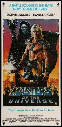 2m034 MASTERS OF THE UNIVERSE Aust daybill '87 Dolph Lundgren as He-Man, great Drew Struzan art!