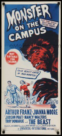 2m035 MONSTER ON THE CAMPUS Aust daybill '58 Jack Arnold, artwork of beast amok at college!