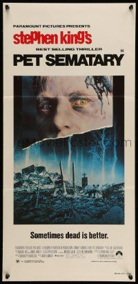 2m036 PET SEMATARY Aust daybill '89 Stephen King's best selling thriller, cool graveyard image!