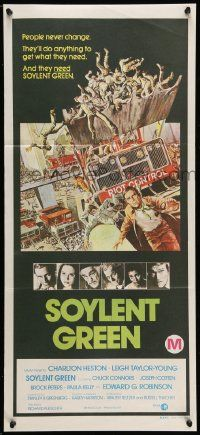 2m037 SOYLENT GREEN Aust daybill '73 Charlton Heston trying to escape riot control by John Solie!