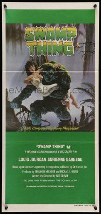 2m038 SWAMP THING Aust daybill '82 Wes Craven, cool Hescox art of him holding Adrienne Barbeau!