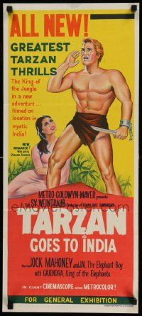 2m040 TARZAN GOES TO INDIA Aust daybill '62 great image of Jock Mahoney as the King of the Jungle!