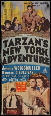 2m042 TARZAN'S NEW YORK ADVENTURE Aust daybill '42 Johnny Weissmuller, Maureen O'Sullivan!