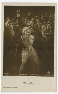 2m003 METROPOLIS German Ross postcard '27 Brigitte Helm as evil Maria incites the crowd to riot!