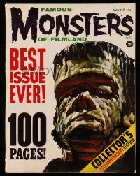 2m068 FAMOUS MONSTERS OF FILMLAND #13 magazine August 1961 best issue ever, w/ Frankenstein cover!