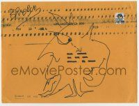 2m052 RAY BRADBURY signed 9x12 envelope '90s with monster sketch drawn around the address!
