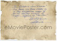 2m053 ROBERT CLARKE signed 8x12 faux parchment '90s with inscription from The Hideous Sun Demon!