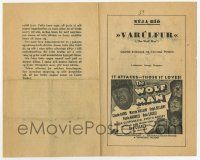 2m010 WOLF MAN Icelandic program '41 Lon Chaney Jr., Claude Rains & Bela Lugosi, rare!