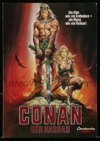 2m016 CONAN THE BARBARIAN video German promo brochure '82 different art of Schwarzenegger & Bergman!