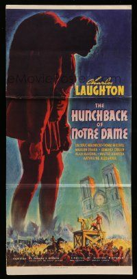 2m075 HUNCHBACK OF NOTRE DAME 12x26 trade ad '39 has full-color image of the three-sheet + more!