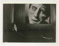 2m054 CHRISTOPHER LEE signed 8.25x10.25 still '57 in Frankenstein makeup watching himself on screen!