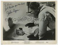 2m056 JOHN AGAR signed 8x10.25 still '62 great close up as the monster from Hand of Death!