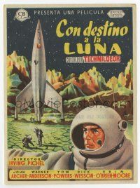 2m007 DESTINATION MOON Spanish herald '53 Robert A. Heinlein, different art of rocket & astronauts!