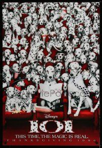 2r008 101 DALMATIANS teaser DS 1sh '96 Walt Disney live action, wacky image of dogs in theater!