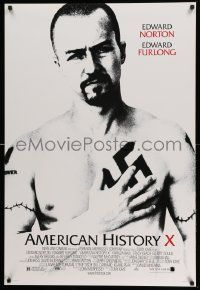 2r039 AMERICAN HISTORY X DS 1sh '98 B&W image of Edward Norton as skinhead neo-Nazi!
