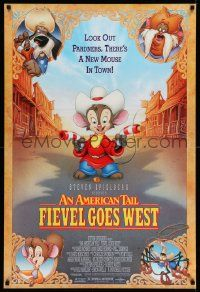 2r048 AMERICAN TAIL: FIEVEL GOES WEST 1sh '91 animated western, there's a new mouse in town!
