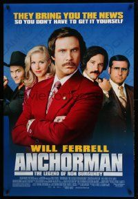 2r054 ANCHORMAN DS 1sh '04 The Legend of Ron Burgundy, image of newscaster Will Ferrell and cast!