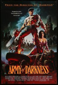 2r062 ARMY OF DARKNESS DS 1sh '93 Sam Raimi, artwork of Bruce Campbell with chainsaw hand!