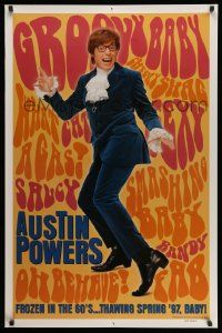 2r067 AUSTIN POWERS: INT'L MAN OF MYSTERY teaser 1sh '97 Mike Myers is frozen in the 60s!
