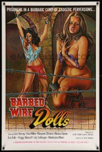 2r080 BARBED WIRE DOLLS 1sh '77 Jesus Franco, sexy art of barely-clothed female prisoners!