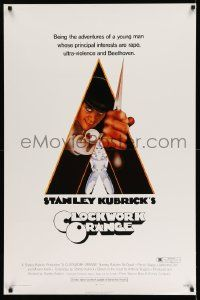 2r001 CLOCKWORK ORANGE 1sh '72 Stanley Kubrick classic, Castle art of Malcolm McDowell, R-rated!