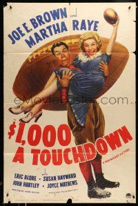 2t009 $1,000 A TOUCHDOWN style A 1sh '39 art of Joe E. Brown & Martha Raye by giant football!