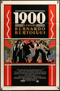2t014 1900 1sh '77 directed by Bernardo Bertolucci, Robert De Niro, cool Doug Johnson art!