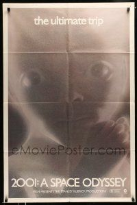 2t018 2001: A SPACE ODYSSEY 1sh R74 Stanley Kubrick, image of star child, thin border design!