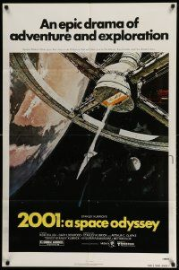 2t019 2001: A SPACE ODYSSEY 1sh R80 Kubrick, space wheel art by Bob McCall!