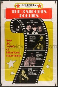 2t020 3 STOOGES FOLLIES 1sh '74 images of The Three Stooges, Buster Keaton, Vera Vague & Batman!