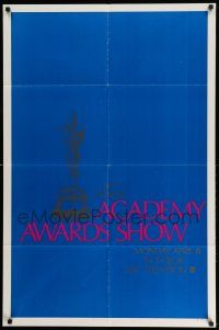 2t001 40TH ANNUAL ACADEMY AWARDS 1sh '68 ABC, cool art of the Oscar statuette on a blue background