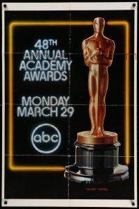 2t004 48TH ANNUAL ACADEMY AWARDS 1sh '76 huge image of Oscar statuette, ABC Television!