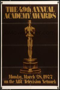 2t005 49TH ANNUAL ACADEMY AWARDS 1sh '77 ABC, great image of golden Oscar statuette!