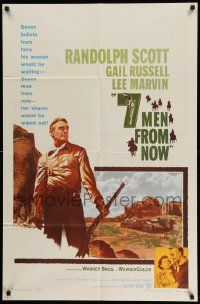 2t021 7 MEN FROM NOW 1sh '56 Budd Boetticher, great full-length art of Randolph Scott with rifle!