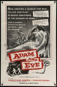 2t028 ADAM & EVE int'l 1sh '58 sexiest art of naked man & woman in the Mexican Garden of Eden!