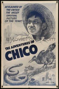2t031 ADVENTURES OF CHICO 1sh '38 cool art of boy, his beloved bird and sanke, the most unusual!
