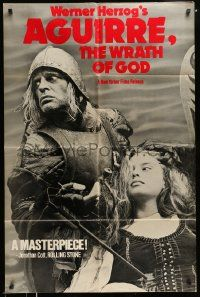 2t033 AGUIRRE, THE WRATH OF GOD 1sh '77 Werner Herzog, Klaus Kinski, cool no border design!