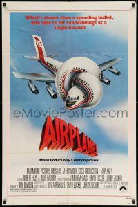 2t034 AIRPLANE 1sh '80 classic zany parody by Jim Abrahams and David & Jerry Zucker!