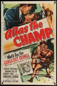 2t036 ALIAS THE CHAMP 1sh '49 cool art of pro wrestler Gorgeous George doing figure 4 leg lock!