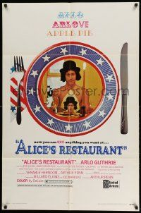 2t038 ALICE'S RESTAURANT 1sh '69 Arlo Guthrie, musical comedy directed by Arthur Penn, R-rated!