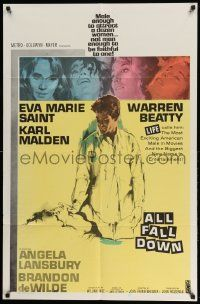 2t040 ALL FALL DOWN 1sh '62 Warren Beatty, Eva Marie Saint, Karl Malden, John Frankenheimer